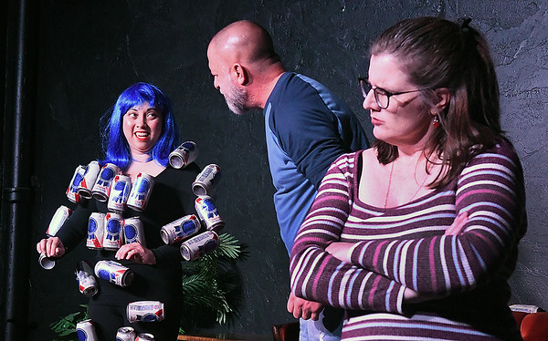 """Charlet Ringwald, Chris Berry and Lori Coleman rehearse the one act play """"Beer Girl"""" Monday, October 7, 2019 at the Turpin Theater. (Billy Hefton / Enid News & Eagle)"""