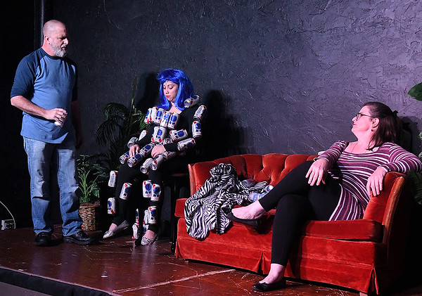 "Charlet Ringwald, Chris Berry and Lori Coleman rehearse the one act play ""Beer Girl"" Monday, October 7, 2019 at the Turpin Theater. (Billy Hefton / Enid News & Eagle)"