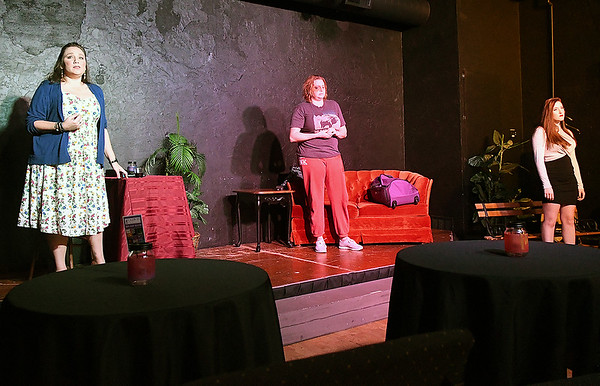 """Catina Sundvall, Carrie Rendleton and Bailey Wilson rehearse the one act play """"Interview with Lonlinessl"""" Monday, October 7, 2019 at the Turpin Theater. (Billy Hefton / Enid News & Eagle)"""