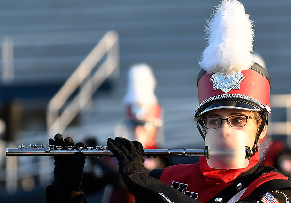 A member of the Kremlin-Hillsdale High School marching band during the Tri-State Marching Contest Tuesday, October 6, 2020 at D. Bruce Selby Stadium. (Billy Hefton / Enid News & Eagle)