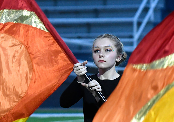 A member of the Pioneer Pleasant-Vale High School marching band flag team during the Tri-State Marching Contest Tuesday, October 6, 2020 at D. Bruce Selby Stadium. (Billy Hefton / Enid News & Eagle)