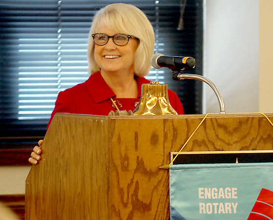Mary Stallings, executive director of the Cherokee Strip Community Foundation, addresses the Enid Rotary Club Monday. (Staff Photo by BILLY HEFTON)