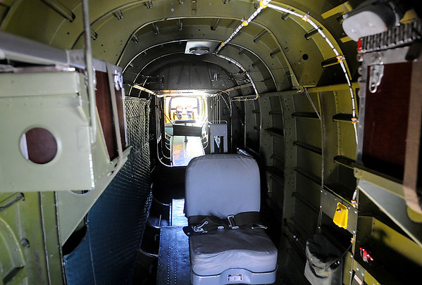 Maid in the Shade B-25 J interior leading to the tail gun turret (Staff Photo by BONNIE VCULEK)