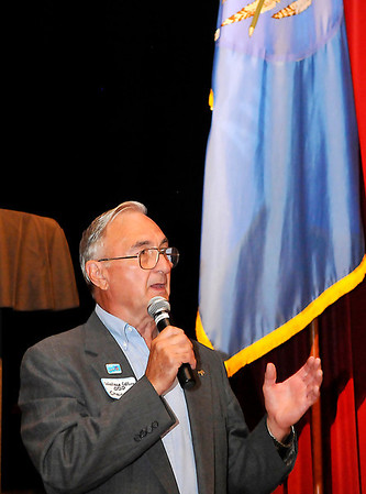 Wallace Collins, chairman of the Oklahoma Democratic Party, addresses those attending a reception Tuesday at the Enid Symphony Center. (Staff Photo by BILLY HEFTON)