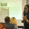 Inspector Vanessa Price of the Oklahoma City Police Department, speaks during a day long seminar at NWOSU-Enid Monday on the topic of drug endangered kids. (Staff Photo by BILLY HEFTON)