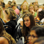 More than 400, seventh grade girls listen to keynote speaker Carol Sallee during the character based abstinence event, Guard Your Heart Girls Tea, in the Convention Hall grand ballroom Wedne ...