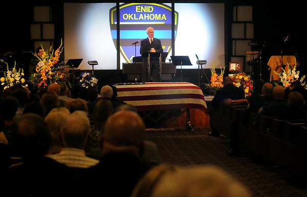 """Enid Police Chief Brian O'Rourke gives the eulogy during the funeral service for Sgt. Richard Allan """"Rick"""" Tanner, II, at Oakwood Christian Church Saturday, Sept. 14, 2013. (Staff Photo by BONNIE VCULEK)"""