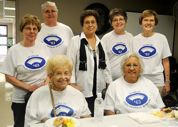 The Enid General Hospital School of Nursing class of 1963 gather for a reception during their 50th anniversary at Integris Bass Baptist Health Center Saturday, Sept. 14, 2013. (Staff Photo by BONNIE VCULEK)