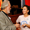 Cathy Cunnings, Democratic candidate for Lt. Governor, visits with Bill Maxwell during a reception Tuesday sponsored by the Oklahoma Democratic Party at the Enid Symphony Center. (Staff Photo by BILLY HEFTON)