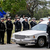 "The Enid Police Department Honor Guard salutes as the hearse carrying fellow police officer, Sgt. Richard Allan ""Rick"" Tanner, II, arrives at Memorial Park Cemetery Saturday, Sept. 14, 2013. (Staff Photo by BONNIE VCULEK)"