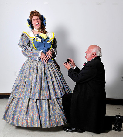"""Jonathan Suttmiller (left) and Larry Kiner in the Gaslight production of ,""""Is He Dead?"""". (Staff Photo by BILLY HEFTON)"""