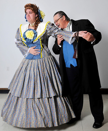 """Jonathan Suttmiller (left) and Stephen Wiederkehr in the Gaslight production of ,""""Is He Dead?"""". (Staff Photo by BILLY HEFTON)"""