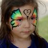 Alyssa Lutton sports a butterfly facial design Saturday, Sept. 13, 2014. (Staff Photo by BONNIE VCULEK)