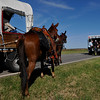 Waukomis emergency personnel help LIFE EMT's load Kyle Hallmark into an a ambulance after he was bucked off his mule while riding with the Chisholm Trail Riders Monday along US 81. The group is traveling the trail across Oklahoma to Kansas in a covered wagon. (Staff Photo by BILLY HEFTON)
