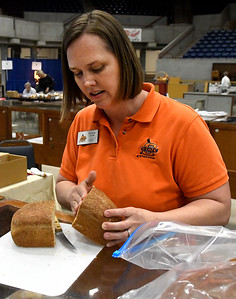 Donna Jung, from the Canadian County OSU Extension Office, judges bread at the Garfield County Fair Thursday September 8, 2016. (Billy Hefton / Enid News & Eagle)
