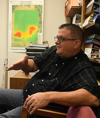 Jim Marlatt, Oil & Gas Specialist for the Oklahoma Corparation Commission, talks about the new technology being used to track earthquakes during an interview Wednesday September 14, 2016 in Oklahoma City. (Billy Hefton / Enid News & Eagle)