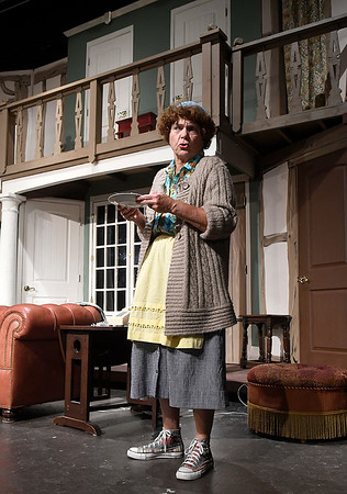 "Ginny Shipley rehearses a scene from the Gaslight Theater production of ""Noises Off"" Wednesday September 7, 2016 at the Gaslight Theater. (Billy Hefton / Enid News & Eagle)"