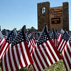 Flags placed in front of Oakwood Christian Church, Monday September 5, 2016, in honor of the victims of the terrorist attacks of September 11, 2001. (Billy Hefton / Enid News & Eagle)