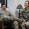 Master Sergeant-Select Geoffrey Gagnon and Master Sergeant-Select Christina Gagnon, husband and wife, during an interview Wednesday September 7, 2016 at Vance Air Force Base about being promoted to Master Sergeant at the same time. (Billy Hefton / Enid News & Eagle)