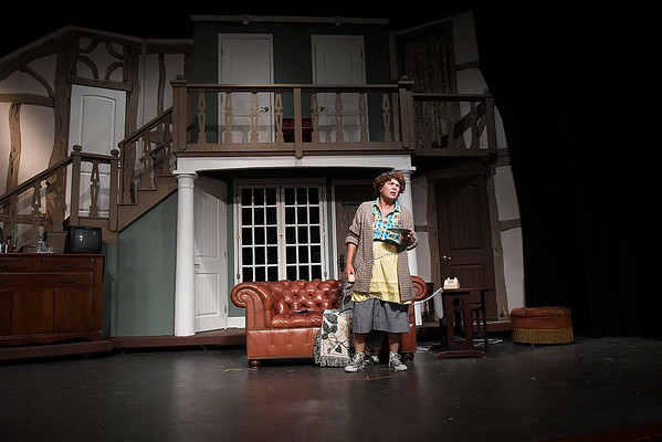 """Ginny Shipley rehearses a scene from the Gaslight Theater production of """"Noises Off"""" Wednesday September 7, 2016 at the Gaslight Theater. (Billy Hefton / Enid News & Eagle)"""
