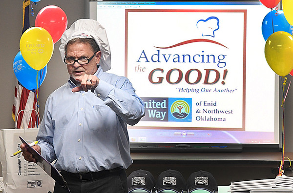 Co-chair of the 2016 United Way Campaign, Mike Mueller of Advance Pierre Foods, during a kickoff luncheon Tuesday September 13, 2016 at the Central Fire Station. (Billy Hefton / Enid News & Eagle)