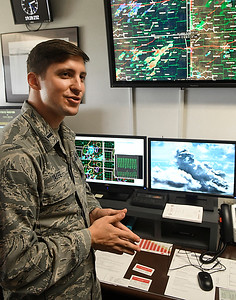 1st Lt. Kyle Yaffe, 71st Weather Flight Commander, during an interview at Vance Air Force Base Thursday September 15, 2016 about being featured in the Department of Defense publication, Futures. (Billy Hefton / Enid News & Eagle)