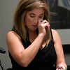 Jenny Holtzclaw gets emotional as she listen to her brother, Daniel Holtzclaw, call from prison following a showing of the CRTV program, Michelle Malin Investigates, Saturday September 9, 2017 featuring the Holtzclaw case. (Billy Hefton / Enid News & Eagle)