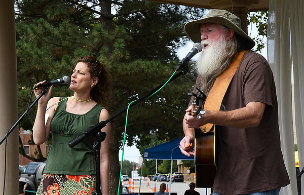 Rhonda Hill and Stacey Sanders perform at the Fling at the Springs event at Government Springs Park Saturday September 30, 2017. (Billy Hefton / Enid News & Eagle)