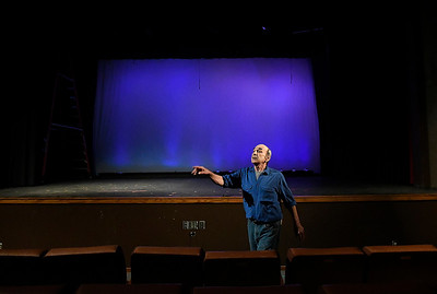 """""""Stage Manager"""" played by Mike Kilman from the Gaslight Theatre production of """"Our Town"""" Wednesday September 5, 2018. (Billy Hefton / Enid News & Eagle)"""