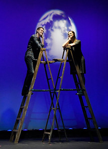"""""""George"""" played by Blake Recknagel and """"Emily"""" played by Baily Wilson from the Gaslight Theatre production of """"Our Town"""" Wednesday September 5, 2018. (Billy Hefton / Enid News & Eagle)"""