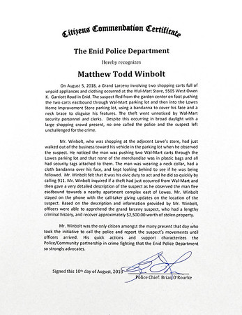 Enid Police Department presented Matthew Winbolt with a Citizens Commendation Certificate Tuesday September 11, 2018 at the Enid Police Department. (Billy Hefton / Enid News & Eagle)