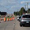 Traffic merges into the outside lanes of the north Van Buren overpass Tuesday September 11, 2018. Replacement of the overpass is estimated to take 15 months. (Billy Hefton / Enid News & Eagle)