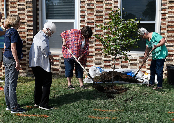Friends and former colleagues of long time teacher at Hayes Elementary, Suzanne Johnson, help to plant a tree in her memory Friday, September 20, 2019 at Hayes Elementary. (Billy Hefton / Enid News & Eagle)