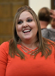 Garfield County Retired Educators Association Scholarship Recipient for 2019-2020, Kelcie Mashell Hainley, during an interview prior to a luncheon Thursday, September 19, 2019 at the NOC Gantz Center. (Billy Hefton / Enid News & Eagle)