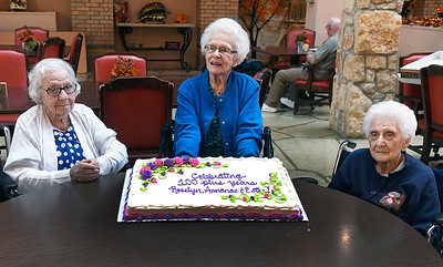 Golden Oaks Village residents, (left to right) Anna Mae Shaw, Roselyn Close and Esther Walton, were reconginzed as centenarians during a ceremony Tuesday, September 3, 2019. (Billy Hefton / Enid News & Eagle)