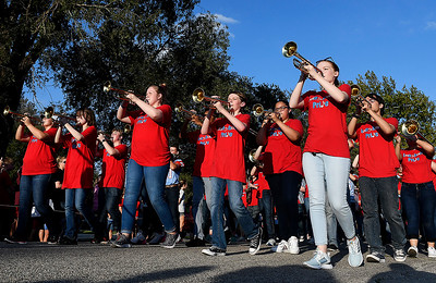 The Chisholm High School band in the homecoming parade Thursday September 26, 2019 in North Enid. (Billy Hefton / Enid News & Eagle)