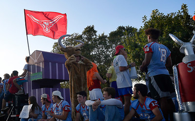 The Chisholm High School senior float in the homecoming parade Thursday September 26, 2019 in North Enid. (Billy Hefton / Enid News & Eagle)