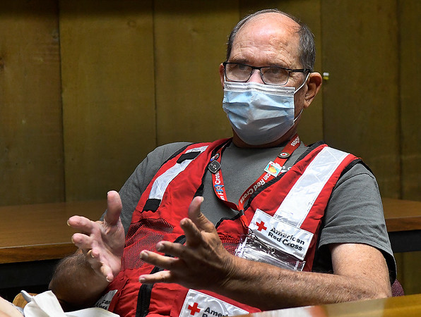 Harry Hammond gestures during an interview Friday, September 18, 2020 as he talks about serving with the Red Cross during hurricane relief. (Billy Hefton / Enid News & Eagle)