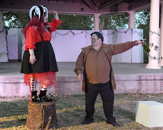 """Lauren Arnold and Curtis Crandall rehearse a scene from the Gaslight Theater's Shakespeare in the Park production of """"The Tempest"""" Wednesday, September 8, 2021 at Government Spriings Park. (Billy Hefton / Enid News & Eagle)"""