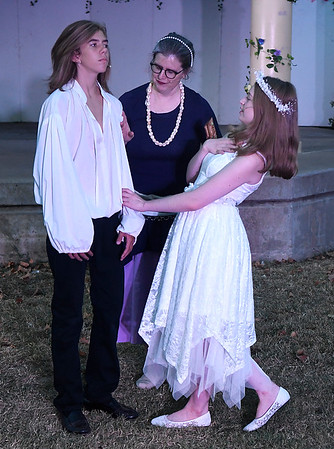 """(left to right) Cooper McKee, Lori Coleman and Adi Betz rehearse a scene from the Gaslight Theater's Shakespeare in the Park production of """"The Tempest"""" Wednesday, September 8, 2021 at Government Spriings Park. (Billy Hefton / Enid News & Eagle)"""