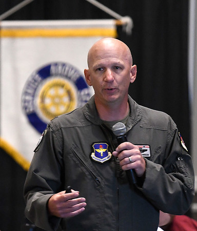 Col. Jay Johnson, Commander 71st Flying Training Wing Vance Air Force Base, addresses the Enid Noon Rotary Club Monday, September 13, 2021 at the Stride Bank Center. (Billy Hefton / Enid News & Eagle)