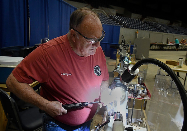 Dewayne Colwell, President-elect of the Northwest Oklahoma Woodturners Association, makes a pen at the Garfield County Free Fair Thursday, September 9, 2021 ay the Chisholm Trail Expo Center. (Billy Hefton / Enid news & Eagle)