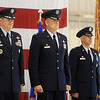 General Robin Rand, Col. Darren V. James and Col. Clark J. Quinn appear together during the 71st Flying Training Wing Change of Command Wednesday, June 18, 2014 at Vance Air Force Base. Col. Quinn assumes command after Col. James 24-month command at the base. (Staff Photo by BONNIE VCULEK)