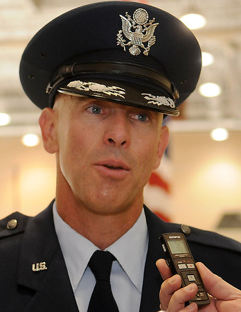 Col. Clark J. Quinn, the new Commander of the 71st Flying Training Wing at Vance Air Force Base, answers questions during a media interview Wednesday, June 18, 2014. (Staff Photo by BONNIE VCULEK)