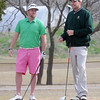 Landon Dixon and Kyle Tefft relax before their championship flight play at the Dick Lambertz Memorial Enid 4-ball Golf Tournament at Meadowlake Golf Course Saturday, April 13, 2013. (Staff Photo by BONNIE VCULEK)