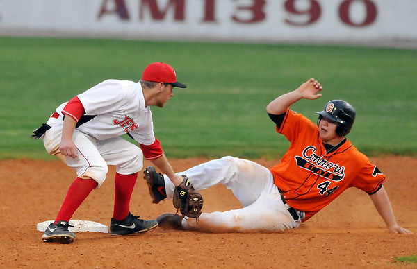 NOC-Enid's Chase Knott tags out Connors State's Eric Kirkpatrick trying to steal second base Monday at David Allen Memorial Ballpark. (Staff Photo by BILLY HEFTON)