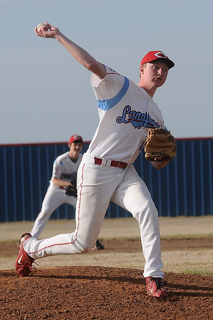 Chisholm's Caleb Lang delivers a pitch to a Watonga batter during the Longhorns' win Friday, April 12, 2013. (Staff Photo by BONNIE VCULEK)