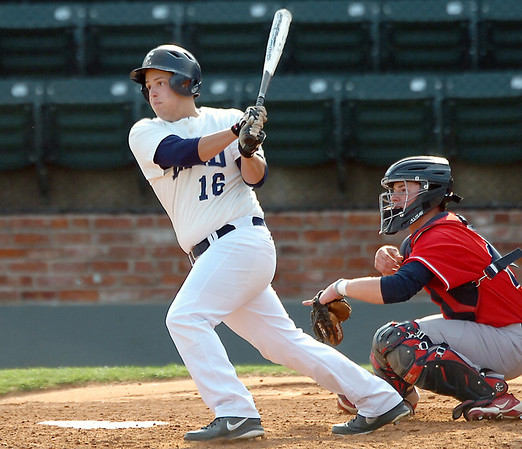 Enid's Zeke Sarver drives in two run with a single against Ponca City Tuesday at David Allen Memorial Ballpark. (Staff Photo by BILLY HEFTON)