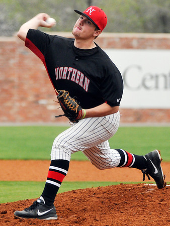 Austin Hannum delivers a pitch against Murrary State Sunday at David Allen Memorial Ballpark. Hannum allowed only two runs in 6 1/3 innings in the Jets 3-2 loss to Murray State. (Staff Photo by BILLY HEFTON)