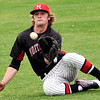 NOC's Korbin Polston makes a sliding catch in right field Sunday at David Allen Memorial Ballpark during Jets 3-2 loss to Murray State. (Staff Photo by BILLY HEFTON)